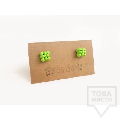 """Ръчно изработени обеци 3va - """"SuccuLove""""  tiny green"""