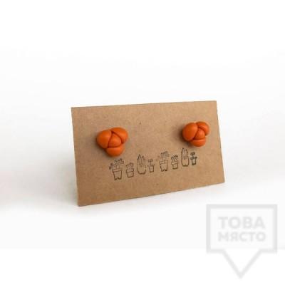 """Ръчно изработени обеци 3va - """"SuccuLove"""" orange"""