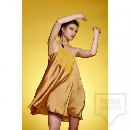 Дамска рокля Амбиция - Златно листо mini