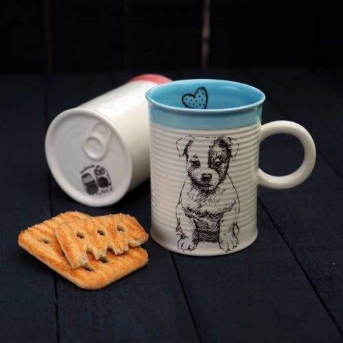 Ръчно изработена порцеланова чаша тип консерва Art.E Handmade - Puppy Love