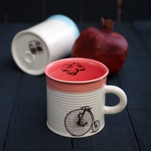 Ръчно изработена порцеланова чаша тип консерва Art.E Handmade - Vintage Bike