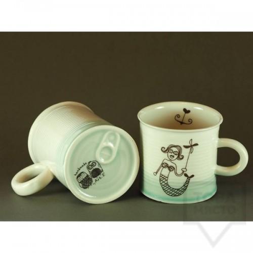 Ръчно изработена порцеланова чаша тип консерва Art.E Handmade - Mermaid