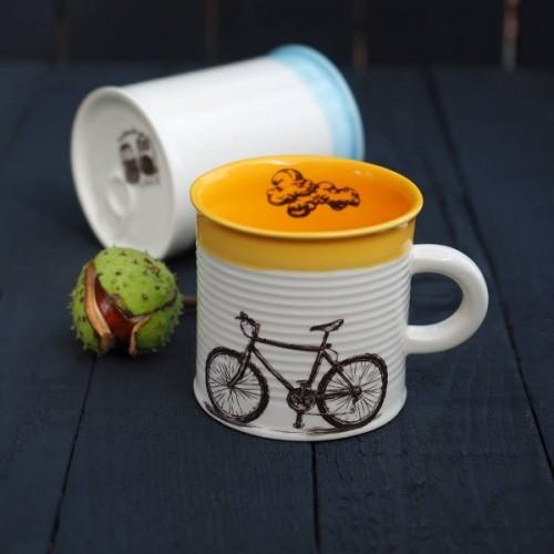 Ръчно изработена порцеланова чаша тип консерва Art.E Handmade - Bike