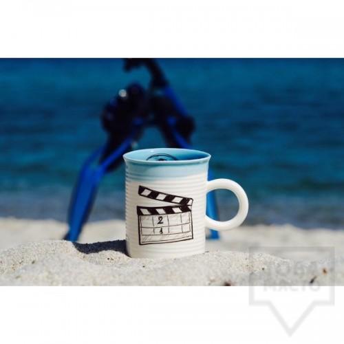 Ръчно изработена порцеланова чаша тип консерва Art.E Handmade - Cinema