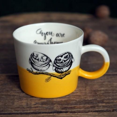 Ръчно изработена порцеланова чаша Art.E Handmade - Wow Owl