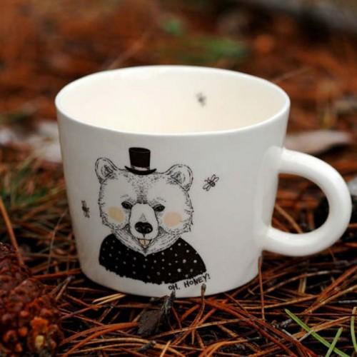 Ръчно изработена порцеланова чаша тип консерва Art.E Handmade Mama Bear