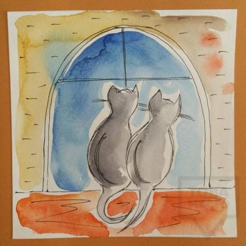Ръчно изработена картичка Art Raft - Котешка любов