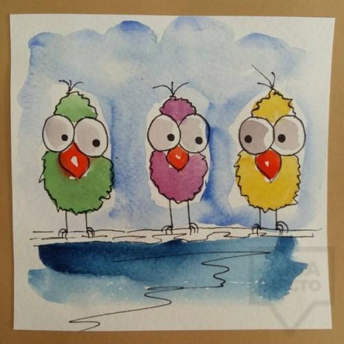 Ръчно изработена картичка Art Raft - Тройка пилци