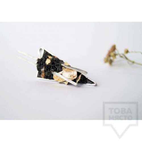 Брошка Asia Petrova Jewelry - опализирано дърво