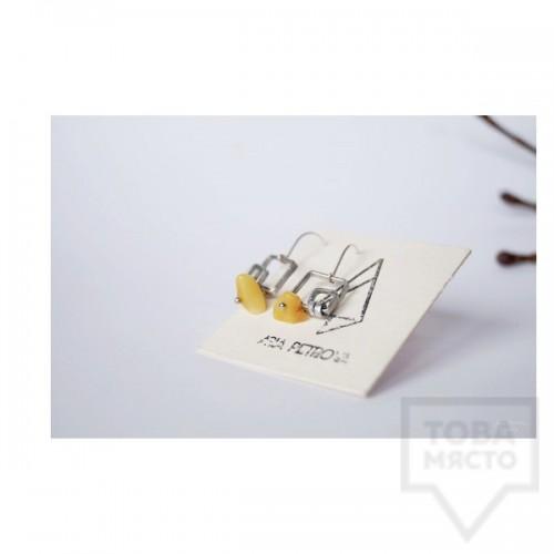 Ръчно изработени обеци Asia Petrova Jewerly - жълт кехлибар