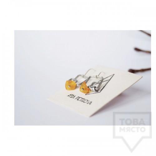 Ръчно изработени обеци Asia Petrova Jewerly - светъл кехлибар