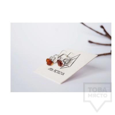 Ръчно изработени обеци Asia Petrova Jewerly - тъмен кехлибар
