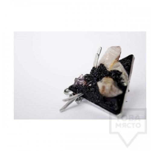 Ръчно изработена брошка Asia Petrova - аметист и планински кристал