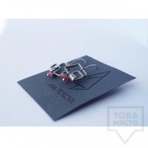 Ръчно изработени обеци Asia Petrova Jewerly - розов кварц