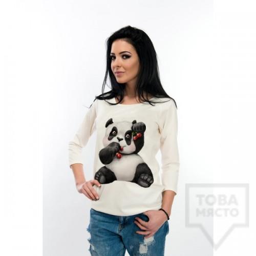 Дамска блуза с дълъг ръкав Atassa - панда