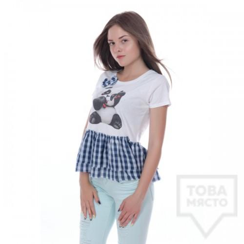 Дизайнерска дамска тениска My Magenta - blue panda