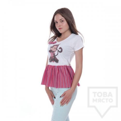 Дизайнерска дамска тениска My Magenta - pink monkey