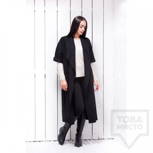 Дълго черно палто Atassa