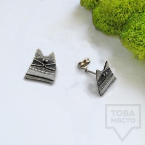 Сребърни обеци Топрева - котки