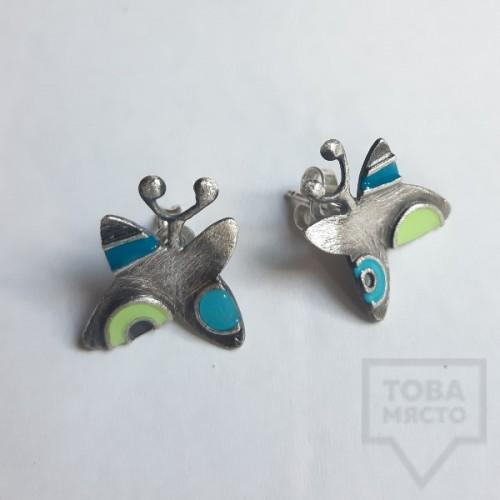 Сребърни обеци Топрева - пъстри пеперуди