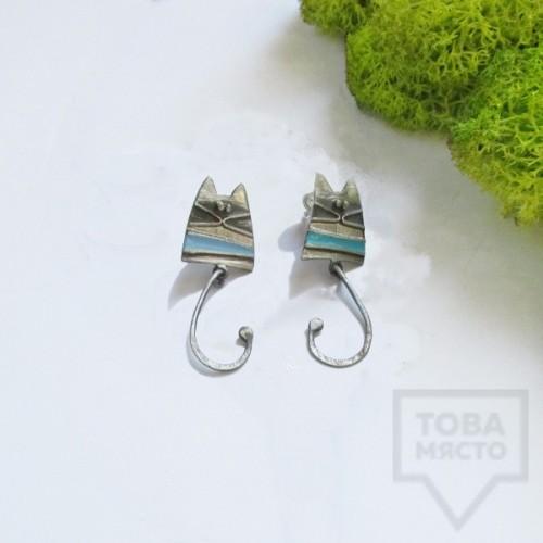 Сребърни обеци Топрева - сини котки