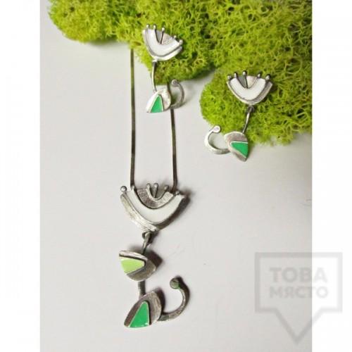 Сребърно колие Топрева - цвете