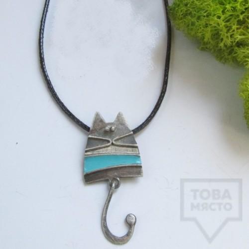 Сребърно колие Топрева - синьо коте