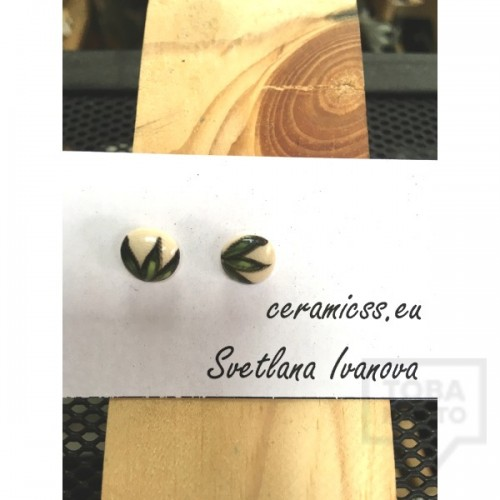 Дизайнерски обеци CeramicsS-Зелени листа