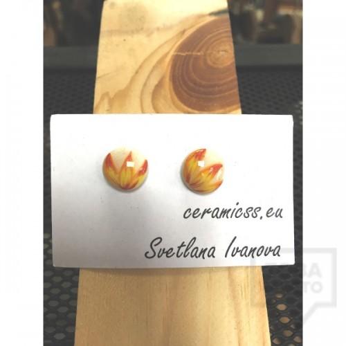 Дизайнерски обеци CeramicsS- Огнен цвят
