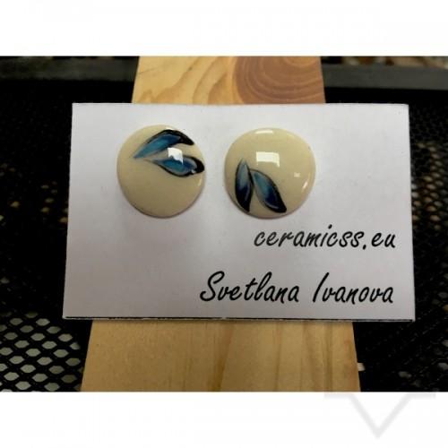 Дизайнерски обеци CeramicsS - сини листа
