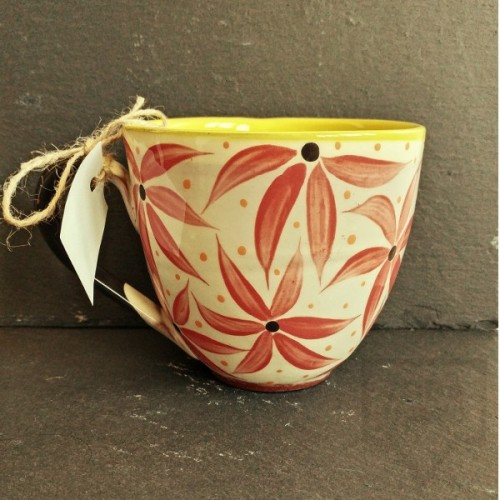 Ръчно изработена керамична чаша CeramicsS - Алени цветя