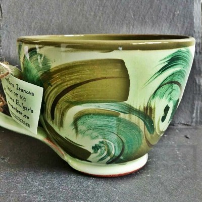 Ръчно изработена керамична чаша CeramicsS - Зелена стихия