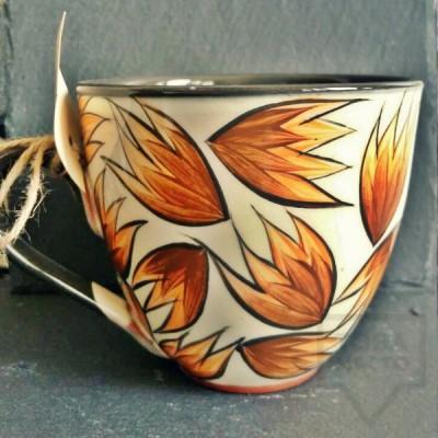 Ръчно изработена керамична чаша CeramicsS - Огнени минзухари