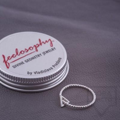 Сребърен пръстен Feelosophy-мини триъгълник