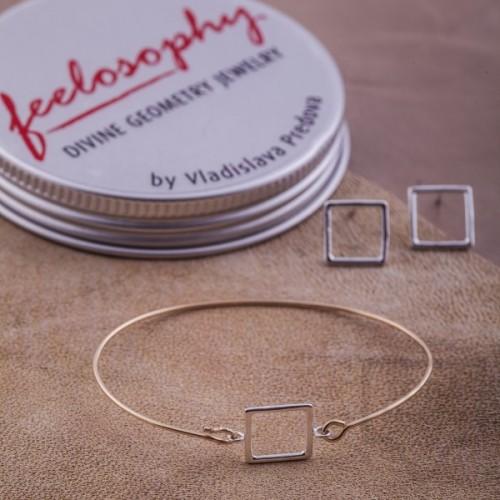 Сребърна гривна Feelosophy - квадрат