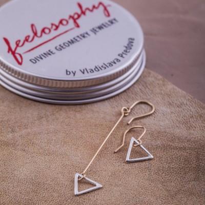 Сребърни обеци Feelosophy - асиметрия триъгълник