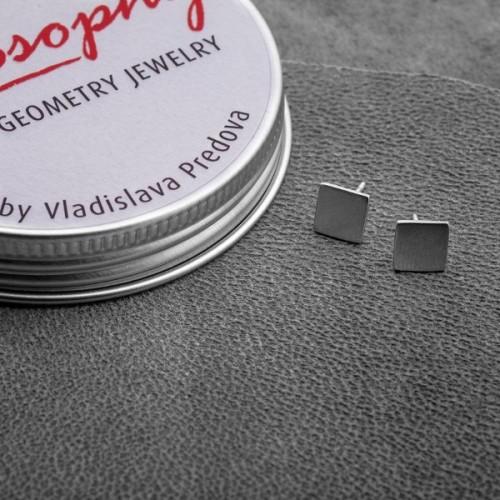 Сребърни обеци Feelosophy Hardware - квадрат