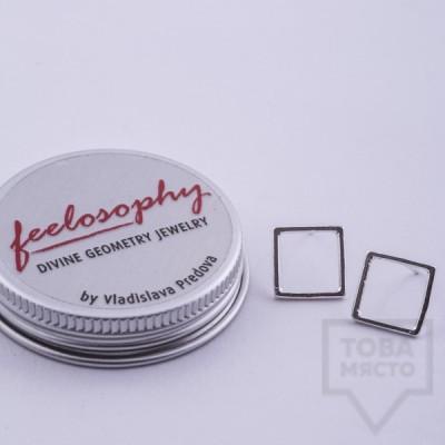 Сребърни обеци Feelosophy - квадрат
