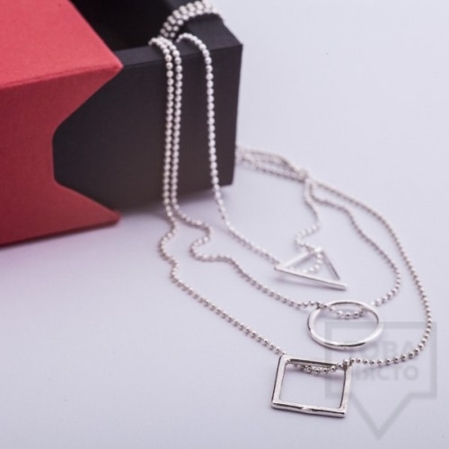 Silver necklace Feelosophy Signature - triple
