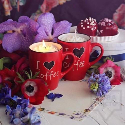 Ръчно изработена ароматна свещ Gancini - i love coffee