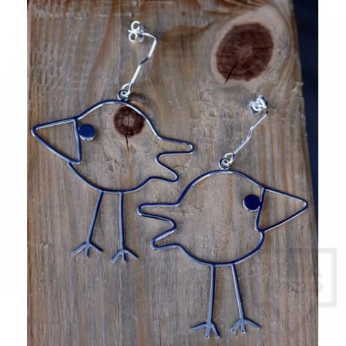 Сребърни обеци Gargorock - висящи пилета