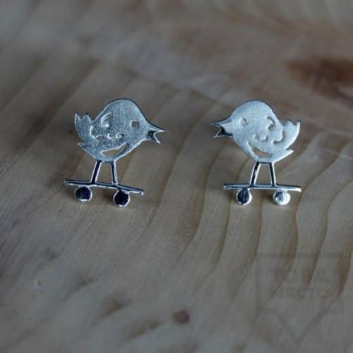 Сребърни обеци Gargorock - пиле бегач