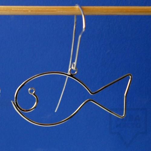 Ръчно изработени сребърни обеци Гаргорок - висящи рибоци