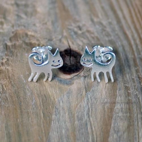Ръчно изработени сребърни обеци Gargorock - котета