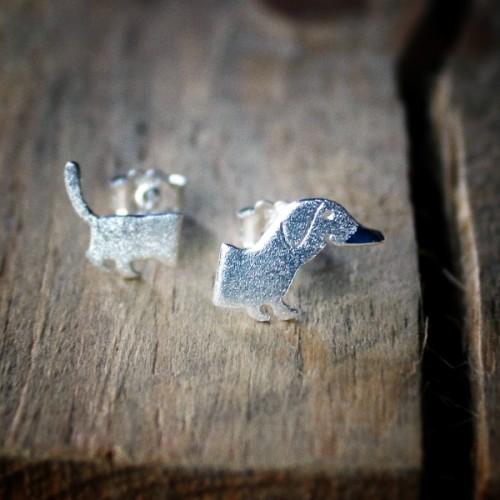 Сребърни обеци Gargorock - дакел