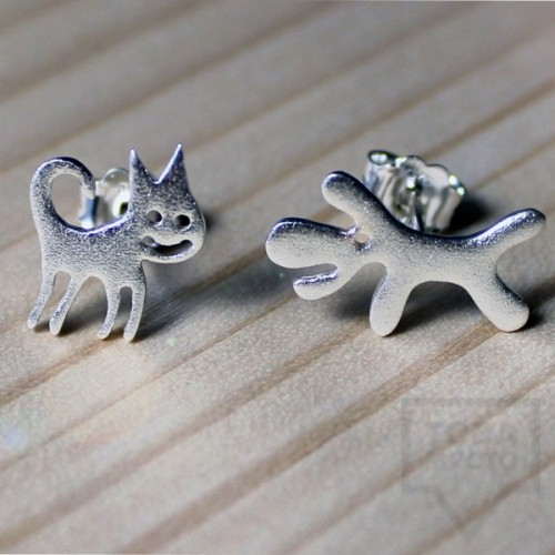 Сребърни обеци Gargorock - като котка и куче