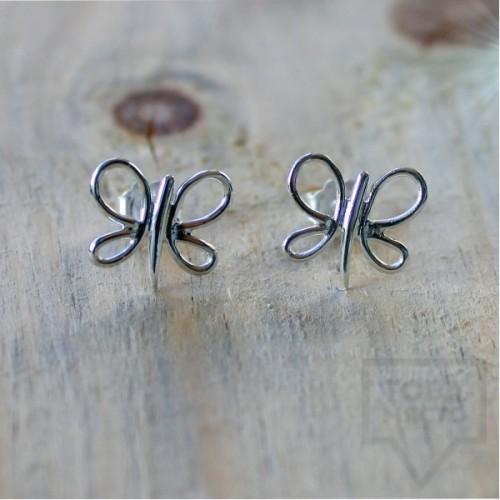 Ръчно изработени сребърни обеци Гаргорок - пеперуди