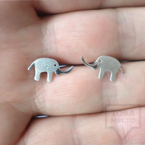 Сребърни обеци Gargorock - слонче