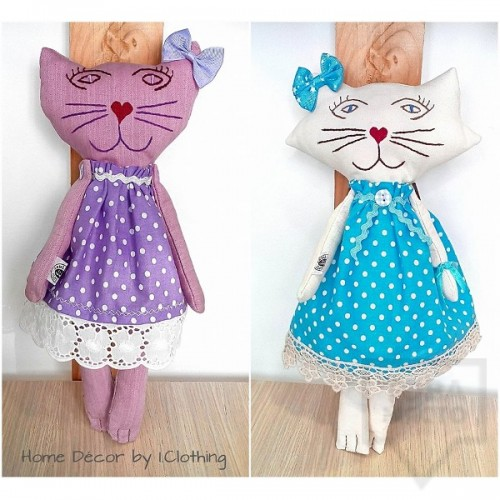 Декоративна ръчно изработена кукла I.Clothing - pink cat