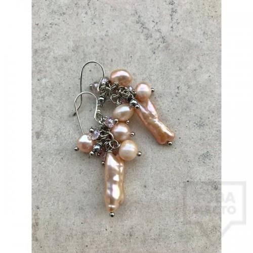 Ръчно изработени обеци Jewellery by Emilya - остри перли
